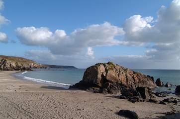 The beautiful beach at Kennack Sands is just a short drive away.