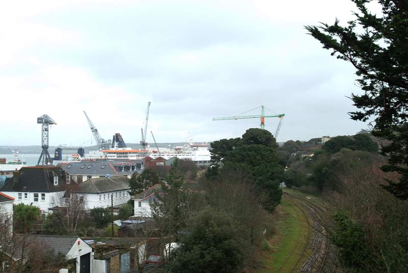 Looking towards Falmouth docks from the balcony.