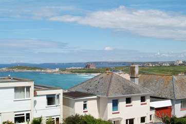 The view across to Fistral Beach and the Headland Hotel in the distance.