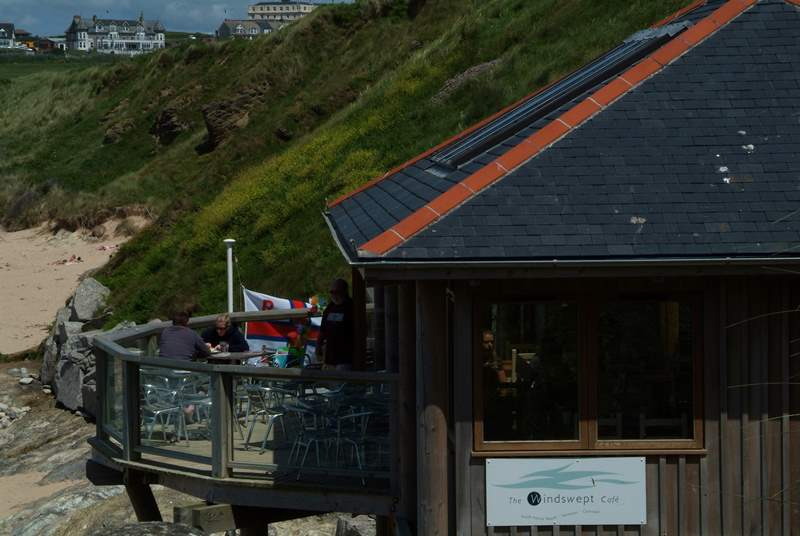 Windswept Cafe overlooking Fistral beach is a short walk away from the apartment.