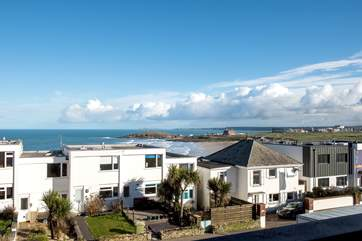 The view across to Fistral Beach and the Headland Hotel in the distance