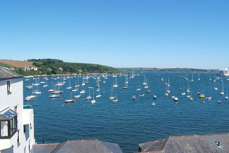 The view from the balcony over the harbour towards the Roseland peninsula.
