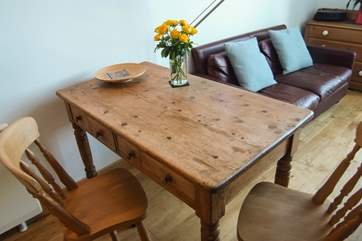 The lovely vintage pine dining-table.