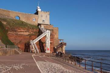 The dramatic 54 steps of Jacobs Ladder on the seafront at Sidmouth. There is a great cafe at the top as your reward!