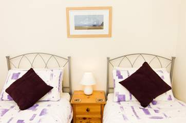 The twin bedroom is ideal for adults or children.