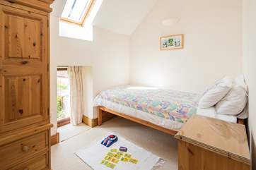 This is the second of the two pretty single bedrooms  - a velux light brightens the room.