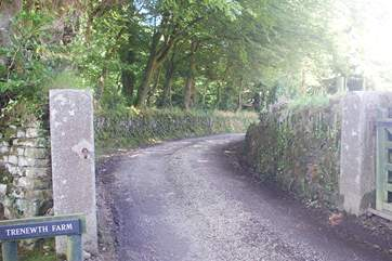 The entrance to the lane leading to the cottage.
