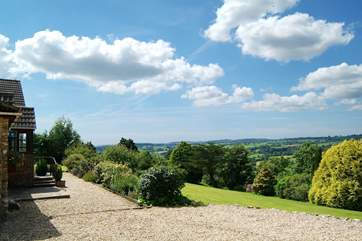 This is the view from the cottage - the porch is just to the left of the picture. Parking is on this gravelled area.