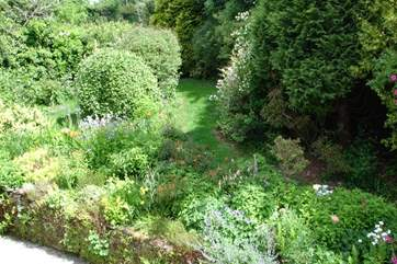 A view of the cottage garden from the twin bedroom window.