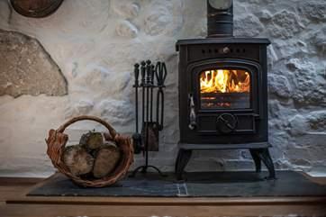 The living area boasts a roaring wood-burner.