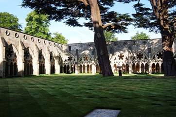 Salisbury Cathedral, cloisters and green are an easy drive from Hatts Farm.