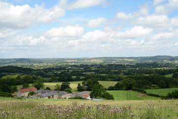 Hatts Farm nestles into this panoramic view of the Dorset/Wiltshire countryside.