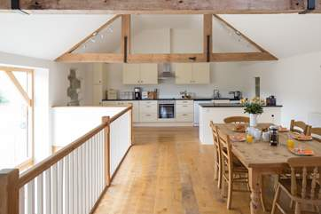 The kitchen is fitted across the enitre width of the barn - spacious and sociable.