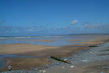 The Blue Flag beach at Westward Ho! Miles of sand at low tide.