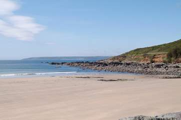 The sandy beach at Perranuthnoe, seen here at low tide, is just over a mile away.