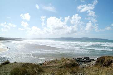 Looking in the other direction from Godrevy, along Gwithian beach towards St Ives in the distance.
