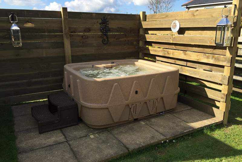 Sunset Barn now has its own hot-tub so you can relax in the warm bubbles at any time of the year.