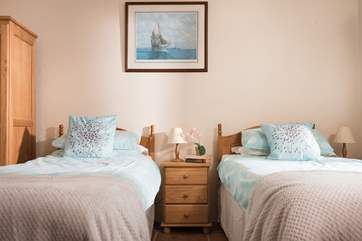 The ground floor bedroom has 'zip and link' (double or twin) beds so a super room for both adults and children.