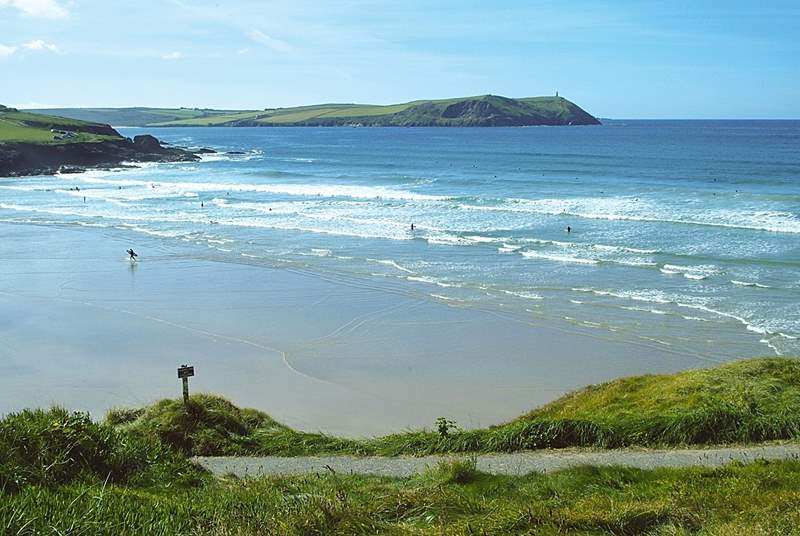 Polzeath beach is great for surfing.