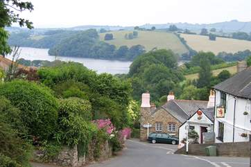 Dittisham, with its passenger ferry over the river Dart to Greenway, former home of Agatha Christie.