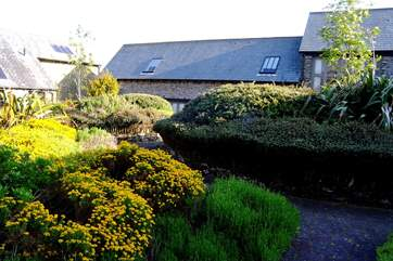 The shared courtyard behind the cottage.