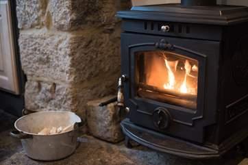 The roaring wood-burner