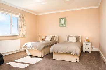 Bedroom 3 has a super king size double bed which can also be made up as twin beds