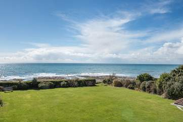 Looking from the terrace over the garden and of course out to sea- it really is quite sublime!