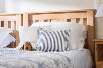 Comfy pillows and quality linens add up to a good nights sleep.