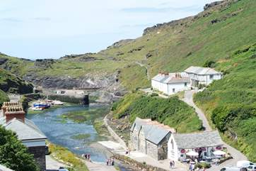 A view towards the harbour and the stunning cliff tops.
