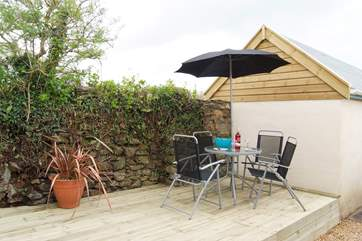 The secluded deck-area outside the cottage.