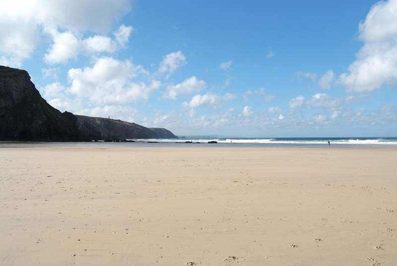 Chapel Porth at low tide - a superb surfing beach.