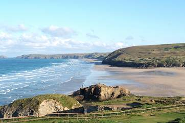The fabulous sands at Perranporth, patrolled by lifeguards throughout the season, are less than seven miles away on the north coast.