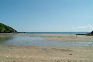 Caerhays (Porthluney) beach is seven miles from Treverbyn on the beautiful Roseland peninsula.