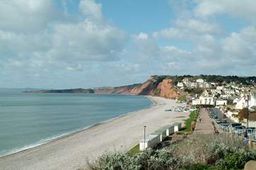The lovely long pebble beach at nearby Budleigh Salterton.