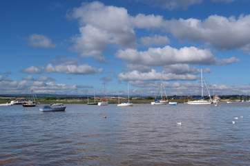 A view across the Exe Estuary from Topsham. You can take a ferry trip across for some lovely walks alongside the Exeter Canal - and to discover the great Turf Hotel for lunch!