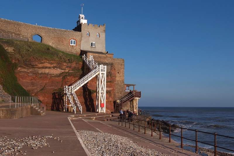 The dramatic 54 steps of Jacobs Ladder on the seafront at Sidmouth.