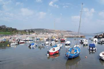A view across the Cobb Harbour towards Lyme Regis.