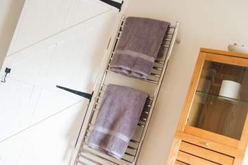 A big heated towel rail to keep the bathroom warm.