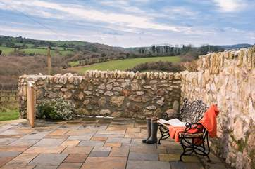 Wonderful views from the large, stone-walled courtyard over the beautiful countryside.
