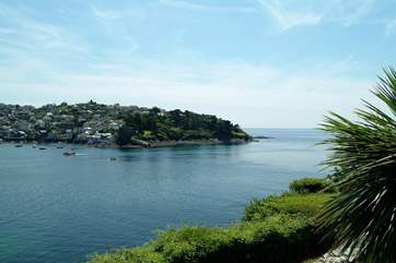 Looking from the esplanade in Fowey across the river mouth to Polruan.
