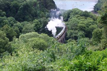 The view from the patio in front of the cottage, with the River Dart and Dartmouth in the distance and the steam railway running along the bottom of the valley.