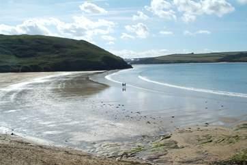 The beach at Polzeath.