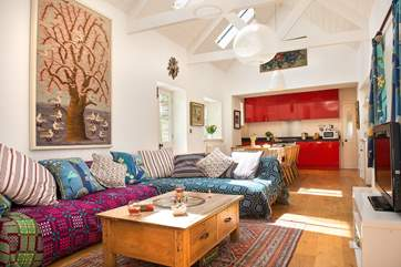 The colourful open plan living-room.