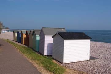 Traditional beach huts at Budleigh Salterton.