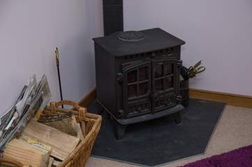 The wood-burner in the sitting-room.