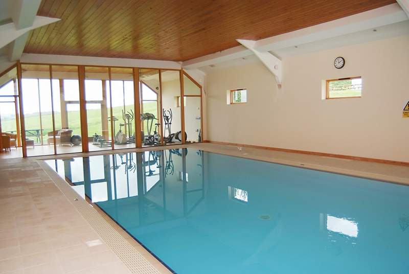 The wonderful indoor heated pool, which has a glass end wall to allow guests to enjoy the spectacular views down the valley.