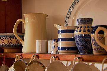 Pottery is a passion of Kirstie Allsopp's and there is a lovely collection throughout the house in different shapes and colours.