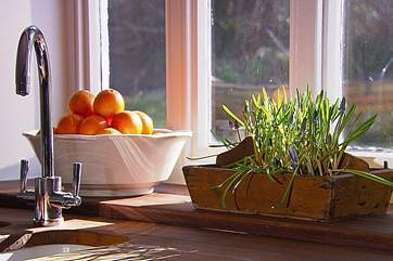 The kitchen sink overlooks the garden.