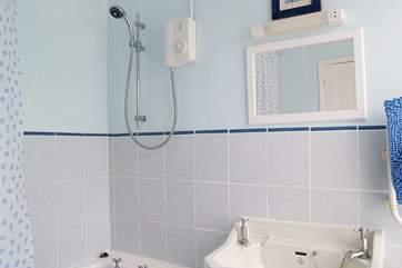 The bathroom has a separate WC next door.
